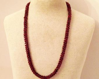 Vintage bohemian Garnet Woven Beads Necklace, Fancy Garnet Woven Beads Necklace, Woven Garnet Necklace, Garnet Bead Necklace,, Garne