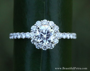 Diamond Engagement Ring  -14K white gold - 1.40 carat - Round - Flower Halo - Pave - Antique Style - Bph033