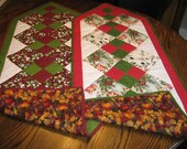 Quilted Pieced Table Chest Runner 2 in 1 - Christmas Thanksgiving Fall Harvest Winter Birds Cardinal Leaves Dbl 4 Patch REVERSIBLE