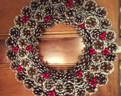 Frosted Pinecone w/ Cherries Winter Wreath, Holiday Christmas Wreath, Pinecone Wreath, Christmas Front Door Wreath