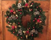 """Christmas Time Battery Operated 24"""" Holiday Wreath, Pre-Lit Holiday Wreath, Front Door Wreath, Christmas Wreath Decoration, Holiday Wreath"""