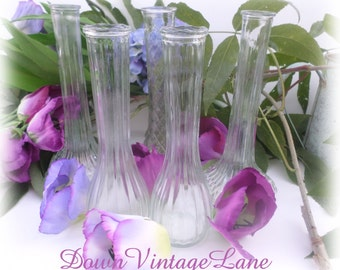 5 Clear Glass Bud Vases Collection of 5 Vintage for Weddings, Parties, Receptions, Florist Vases, DISCOUNT Available
