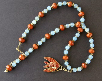 Red Cloisonne Fish Necklace Vintage Chinese Angel Fish w Aquamarine and Red Jasper Colorful Gemstone Ocean Jewelry