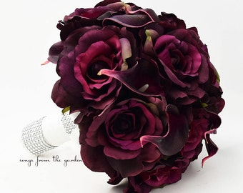Plum Roses and Calla Lilies Bridal Bouquet Plum White Wedding Bouquet - Customize for your Wedding Flower Colors
