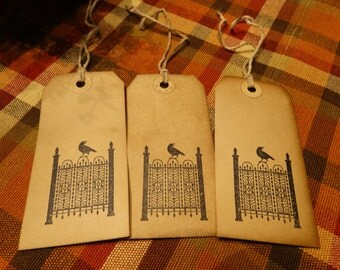 SET of 3 Large Primitive Halloween Gothic Crow Hang Tags