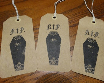 SET of 3 X Large Halloween Coffin RIP Hang Tags