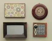 wall gallery - Antiquity -  a 4 pc vintage  wall art collection - Boho Chic - romantic - eclectic