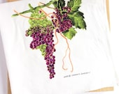 "Tea Towel, Watercolor Grapes, ""Shane's Grapes,"" Wine-lover and Foodie Gift"