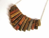 Natural Gemstone Graduated Fan Necklace