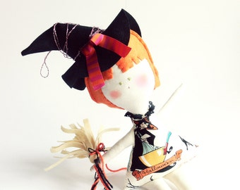HALLOWEEN Witch doll - Wall hanging DOLL / KIDS decoration - Handmade in Italy