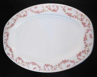 "TK Thun Bohemia Czech Bridal Rose Serving Platter 14-1/2"""