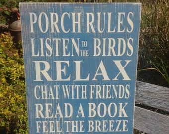 Porch Rules Sign Primitve Rustic Vintage Style Typography Word Art Sign