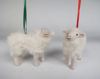 Handcrafted Porcelain and Wool Cotswold Lamb Ornament