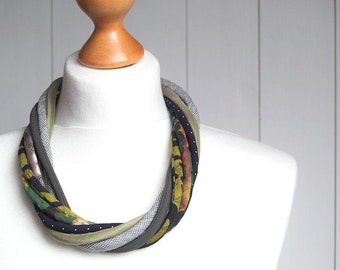 MOSS green necklace, statement textile necklace, fabric jewelry, ECO style necklace