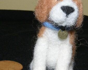 Mini Beagle Dog in Needle Felted Wool