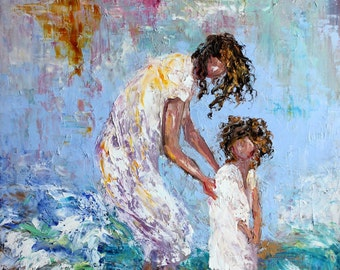 Mother and Child print on canvas made from image of past painting by Karen Tarlton fine art