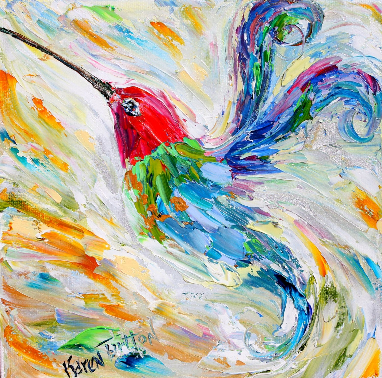 Original Oil Painting Hummingbird Dance Palette Knife