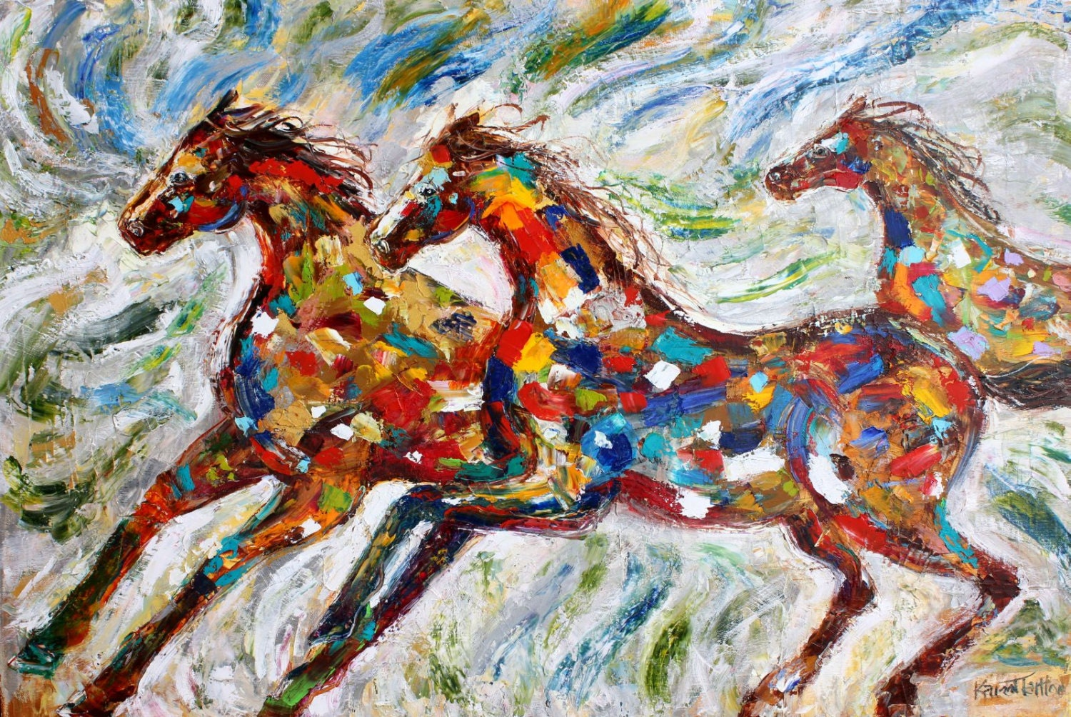 original oil painting wild horses run abstract impressionism