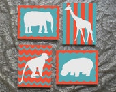 Set of 4 Nursery Zoo Animal Silhouettes Hand Painted 8 x 10 Canvas Wall Art