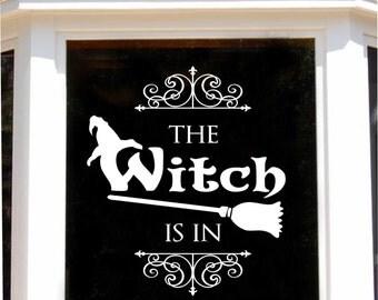 The Witch Is In Hat Broom Door Sign, Halloween Decal, Vinyl Wall Lettering, Vinyl Wall Decals, Vinyl Letters, Vinyl Lettering, Wall Quotes