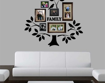 Vinyl Wall Lettering Decal Graphic Large Family Tree Kit with Branches Leaves Birds