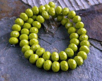 Wasabi Green Czech Rondelle Beads, Fire Polished beads, facetted glass donut beads, 5x7mm, Wasabi Green (30pcs) NEW