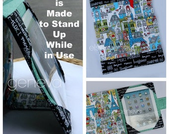 iPad Book Style Cover Case Paris French Words Eiffel Tower Black Red Aqua Teal Stand Up Protector - Chautea - Ready to Ship