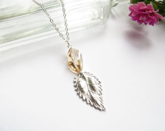 Silver Leaf Necklace With Topaz Swarovski Crystal, Layering Necklace, Everyday Jewelry