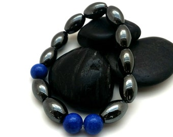 Gift for Him, Mens Bracelet, Blue Gemstone Hematite Bracelet, Cute Boyfriend Gift, Gift for Brother, Fathers Day Gift, Mens Beaded Bracelet
