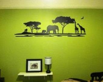 African Landscape vinyl wall decal