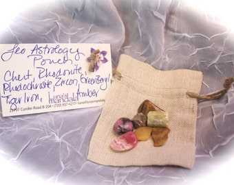 Leo Astrology Energy Power Pouch with 7 crystals or stones FREE SHIPPING