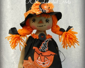 ON SaLe Raggedy BELINDA Ann- Witch  cute Halloween Autumn Fall ooak primitive folk art home decor collectable pumpkin broom