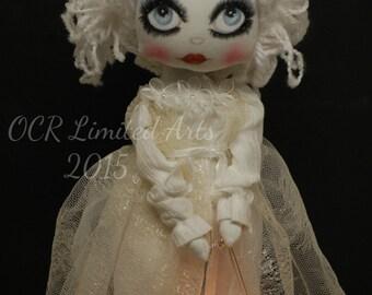 Winter Solstice Art Doll LUNA Ooak collectible Art Handmade winter Goddess YULE LIGHT