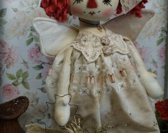 Primitive Folk Art Raggedy Ann Doll Angel Wiith Pillow ornament vintage fabric and Buttons  Must See