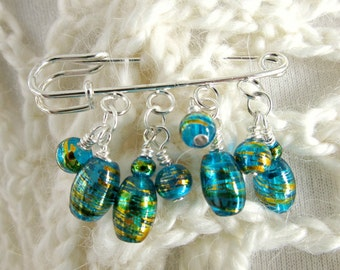 Blue Shawl Pin - Scarf Pin - Sweater Pin - Blue and Gold - Kilt Pin Brooch