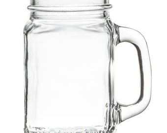 12 (one dozen) 16 ounce Mason Jar Mugs Glass Cups with Handles! SHIPPED to your home! Rustic Wedding Decor graduation party pint glass