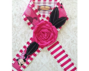 Pink and White Striped Minnie Inspired Headwrap Headband Disney Inspired Headband Pink Black Polka Dot Minnie Mouse Knotted Headwrap