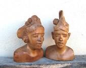 Vintage Carved Wood Figures Male & Female Teak Figurines