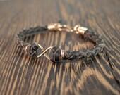 Infinity Bracelet Set - Rose Gold and Chocolate Deer Hide Leather