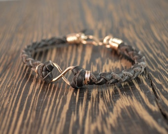 Father's Day Gift - Men's Infinity Bracelet - Rose Gold and Chocolate Deer Hide Leather