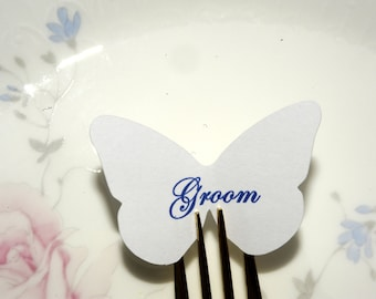 20 personalized place card for forks - scrakbook tag - name tag - die cut butterfly