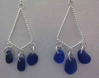 Blue Earrings Jewelry, BLUE Drop Earrings, Wedding Gift, Seaglass Earrings, Beach Glass Dangle Earrings, Sea Glass Jewelry