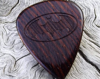 Wood Guitar Pick - Premium Quality - Handmade With Cocobolo Rosewood - Laser Engraved One Side - Actual Pick Shown - Artisan Guitar Pick