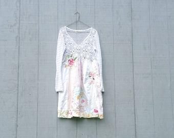 funky white cotton tunic upcycled romantic Upcycled clothing Patchwork Dress Eco Dress / Artsy Dress by CreoleSha