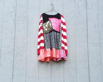 upcyled heart kiss me funky tunic dress ladies women upcycled clothing Patchwork Dress Eco Dress / Artsy Dress by CreoleSha