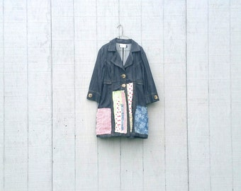 Upcycled clothing | Upcycled Jacket | funky clothing | Denim Jacket | Patchwork Jacket Coat Dress - Upcycled Clothing CreoleSha