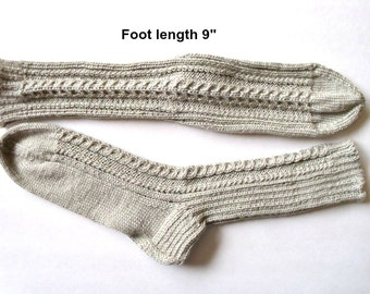 """Socks cotton & Bamboo blend hand knit . Foot length  9"""".  Cabled design and reinforced heel . Light beige  color. Ultra soft. Ready to ship"""