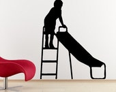 Boy Standing on Slide Wall Decal Removable Nursery Wall Sticker