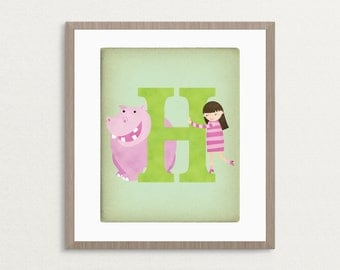 H is for Hippo - Customizable 8x10 Alphabet Art Print