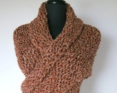 So Cozy Light Brown Taupe Beige Melange Color Chunky Yarn Knitted Wrap Stole with Tassels Fringes